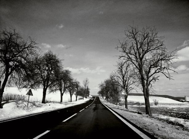 sunny winter roads